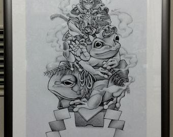 "Original pencil art ""Monkey round rice cake"""
