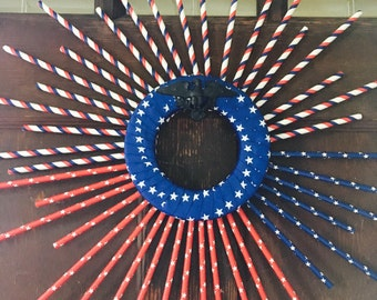 Handmade Red White and Blue American Spirit we Miss Our Soldiers, Straw Door Hang
