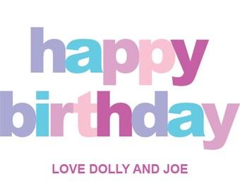 Personalised Happy Birthday Gift Sticker (8.6cm x 4.9cm)