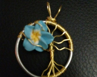 Wire wrapped Tree of Life with flower