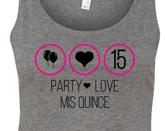 Party/Love/Mis Quince Crop Top Tank