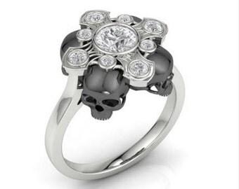 Cross of Gems and Black Skull Ring