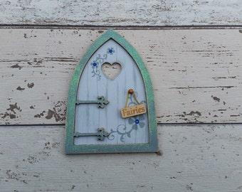 Fairy Door Elf Door Shabby Chic Blue Beautiful Handmade Various options