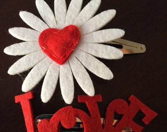 White Daisy w/Red Heart Snap Barrette and LOVE Snap Barrette
