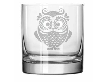 Owl Vintage 11oz Rocks Whiskey Highball Glass