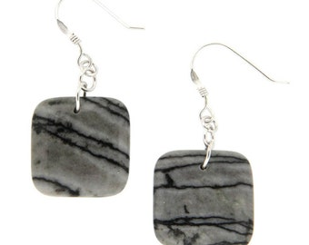 18mm, Round, Black Zebra Jasper, 925 Sterling Silver, Dangle Earrings