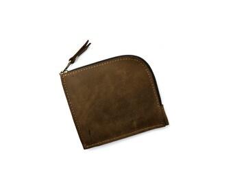 Mens wallet, zip wallet, leather wallet, pocket wallet, womens wallet, small zippered wallet, handmade wallet, minimalist wallet, purse