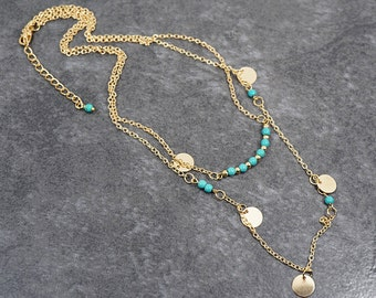 Layered Turquoise Necklace Bar Necklace multi layer Chain Minimalist Gold Necklace gold Fashion Gold Bead Necklace Girlfriend Gift For Women