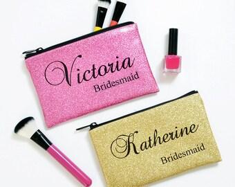 personalized cosmetic bag, bridesmaid gift, bridesmaid makeup bag, gold, silver, pink, rose gold