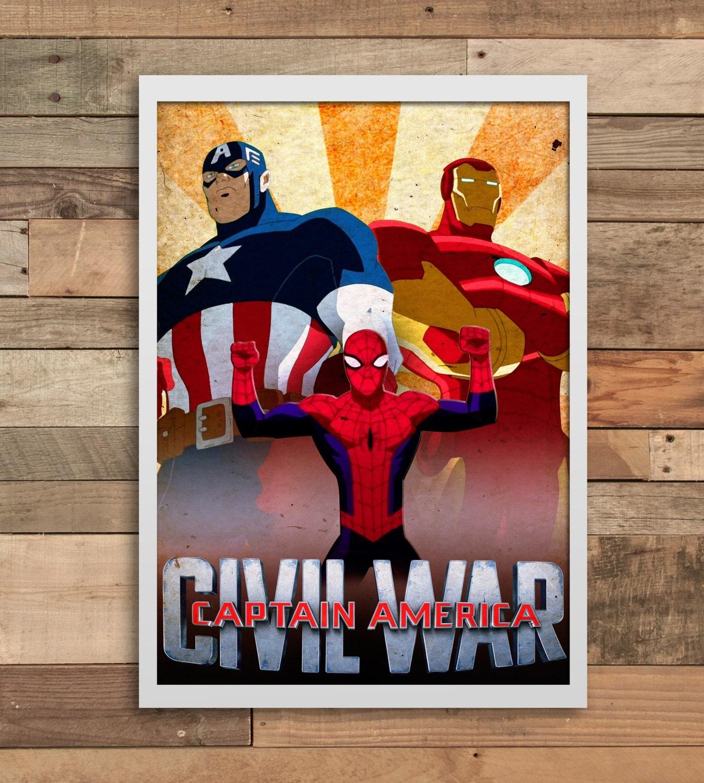 Captain America Civil War Marvel Wall Art Print Home Decor