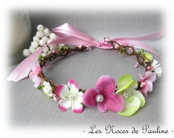 Crown of flowers marriage pink and green Orchid