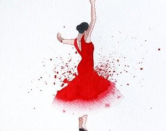 Watercolor Painting Original Not Print Female Flamenco Dancer 16022014020sPPFFRT
