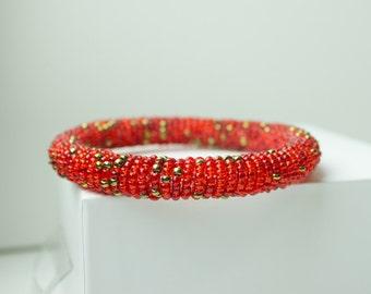 Maasai Bead Bracelet // Red - Gold highlights