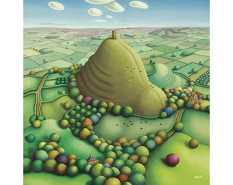 Glastonbury tor print - limited edition giclee print - Somerset art - Somerset print