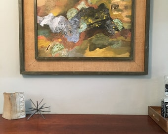 Mid century modern abstract painting, collage, signed