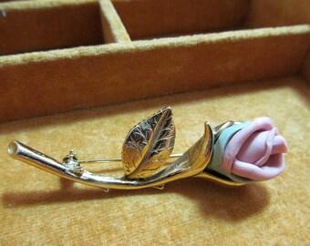 Vintage rose pin, gold toned setting