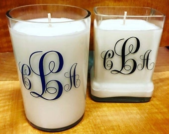 Monogrammed soy candles