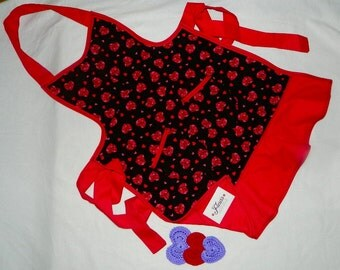 Apron, Womens,Double Sided,  Valentines, Hearts, Rockabilly, Mothers Day Gift Apron, .