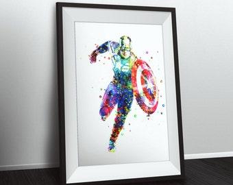 Captain America Poster Digital Watercolor Marvel Art Avengers Print INSTANT DOWNLOAD