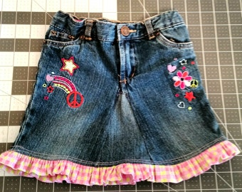 Jean skirt with ruffle size 2T