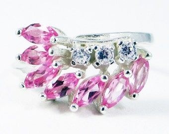 Pink Sapphire Marquis and CZ Ring Sterling Silver