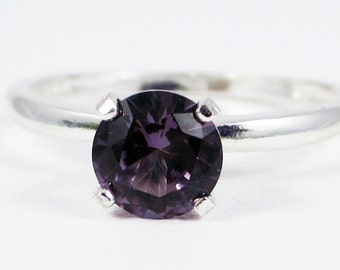 Lab Alexandrite Solitaire Ring, 925 Sterling Silver, June Birthstone Ring, Purple Alexandrite Ring, Solitaire Ring, Lab Alexandrite