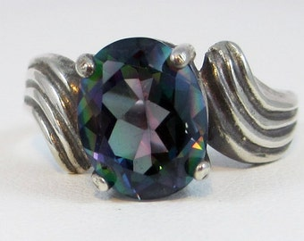 READY TO SHIP Size 7.5 - Oxidized Mystic Topaz Ring Sterling Silver