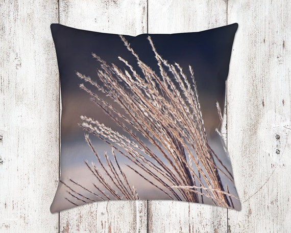 Decorative Grass Pillow Case - Throw Pillows - Home Decor - Lake House Decor - Blue & Tan Decor - Christmas Gifts - Unique Pillows - For Her