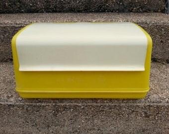 Lustro Ware Breadbox Sunshine Yellow and white Lustroware