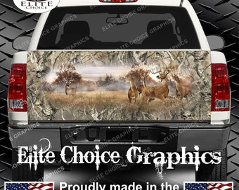 Whitetail Buck Deer Obliteration Skull Camo Truck Tailgate Wrap Vinyl Graphic Decal Sticker Wrap