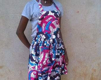 Pink and Blue Kitenge Apron, Ugandan African Fabric