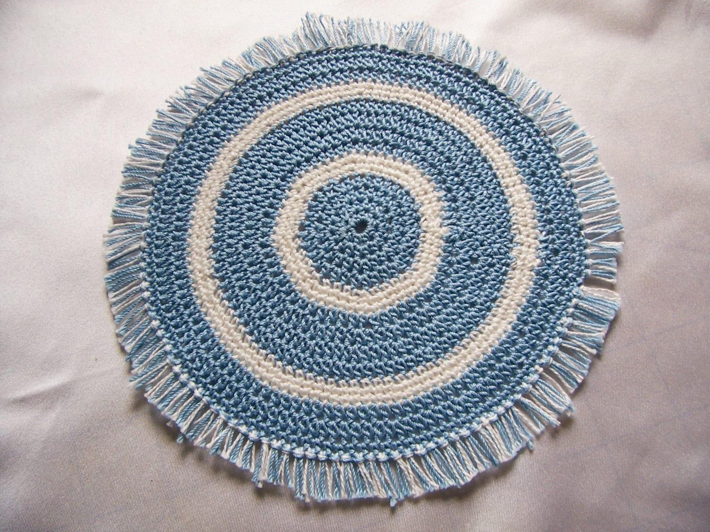 Star Wars Crochet Doll Pattern : Miniature Rug-Crochet Rugs-Dollhouse Rug-Blue/white