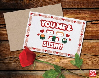 Printable Sushi Card and Enveloppe, Sushi Love, Instant Digital Download Aijou Japan