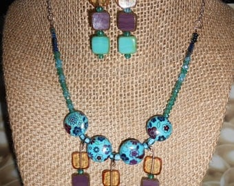 multi colored czech glass square and floral stone beaded necklace,earring set