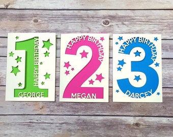 Personalised 1st Birthday Card, Baby's First Birthday Card, Child Birthday Card, Kids Birthday Card, 2nd, 3rd, 4th, 5th, 6th, 7th, 8th, 9th