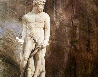 Florence Italy, Statue Florence Italy, Florence Travel Photo, Wall Decor Florence, Large Wall Art, Textured Photo