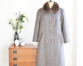Woolcoat 70ies with Fur-collar