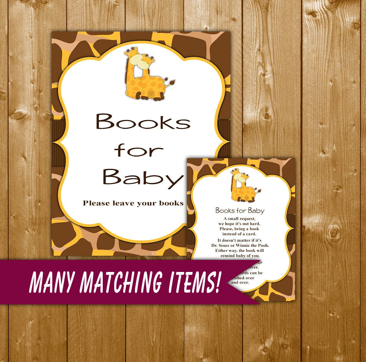 giraffe books for baby baby shower book request insert card