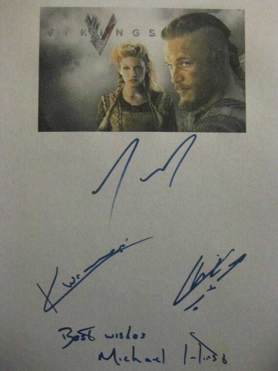 Vikings Signed TV Pilot Script Screenplay Autograph X4 Travis Fimmel Katheryn Winnick Clive Standen Michael Hirst signatures warriors