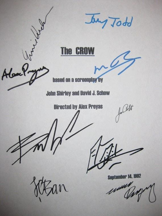 The Crow Signed Film Movie Script Screenplay X9 Autographs Brandon Lee Bai Ling Ernie Hudson Michael Wincott Tony Todd Jon Polito Rodriguez
