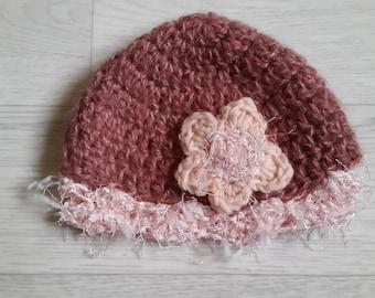 bonnet flower Marshmallow baby handmade crochet