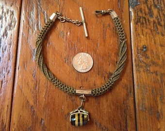 Antique Victorian Mourning Hair Woven Watch Chain Fob with beautiful polished wooden barrell charm 1800's jewelry