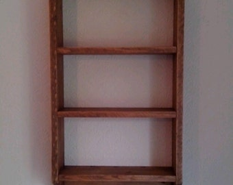 Bespoke Solid Pine Wall Unit Made From Reclaimed Wood Waxed with 3 shelves 4 Brass Hooks