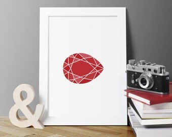 July Birthday Gift, July Birthstone Art, Red Gemstone Poster, Jewel Art Printable, Gem Wall Art, Ruby Poster, Gift For Mom, Modern Wall Art