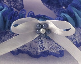 Blue /white wedding or  prom garter for that special day