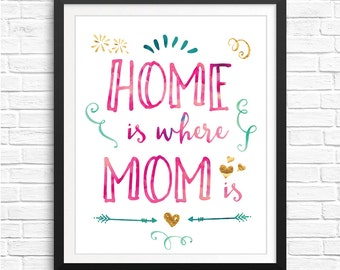 Home is where mom is wall art, mother's day gift, mom watercolor art, mother's day poster mother's day art, printable walls, watercolor gift
