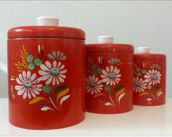 Ransburg Vintage Hand Painted Canisters. 3 Piece Set. Orange/Red.