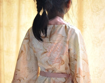 short kimono flower girl robe, rosegold satin robe,rose gold floral,peach blush lilly, shiny satin wedding dress, flower girls wedding dress