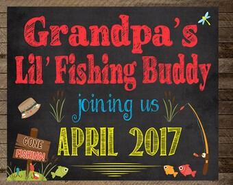 Pregnancy announcement, grandparents pregnancy announcement, grandpa's little fishing buddy, pregnancy reveal, fishing prenancy announcement