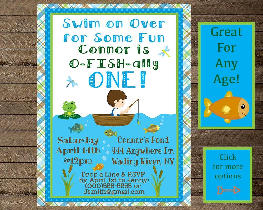 Boy 39 s birthday fishing invite fishing invitation fishing for Fishing birthday invitations
